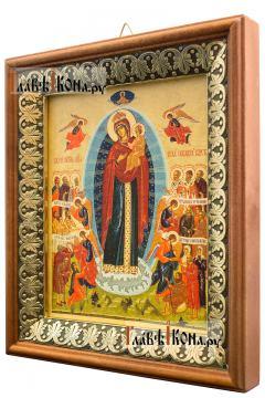 Всех Скорбящих радость (Харбинская), икона на холсте в киоте-рамке - вид сбоку