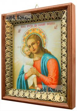 Взыскание погибших Божия Матерь, икона на холсте в киоте-рамке - вид сбоку