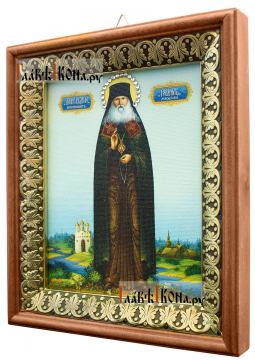 Гавриил Мелекесский, икона на холсте в киоте-рамке - вид сбоку