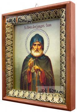 Александр Свирский (живописный), икона на холсте в киоте-рамке - вид сбоку
