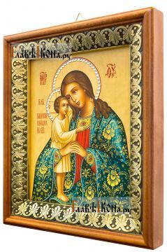 Взыскание погибших Божия Матерь (с узорами), икона на холсте в киоте-рамке - вид сбоку