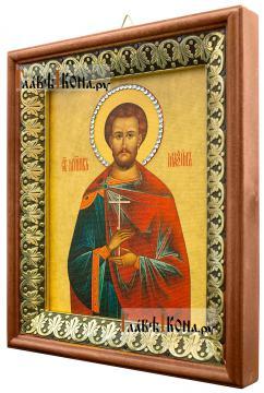 Максим Антиохийский, икона на холсте в киоте-рамке - вид сбоку