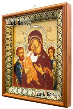 Трех Радостей Божия Матерь, икона на холсте в киоте-рамке - вид сбоку