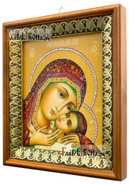 Корсунская Божия Матерь, икона на холсте в киоте-рамке - вид сбоку