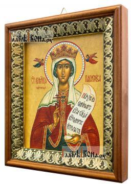 Параскева Пятница, икона на холсте в киоте-рамке - вид сбоку