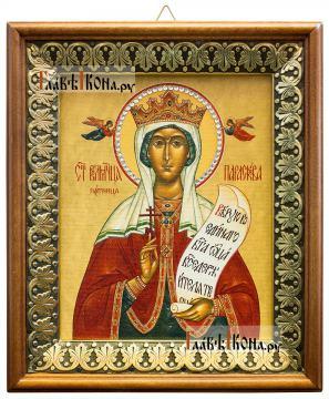Параскева Пятница, икона на холсте в киоте-рамке