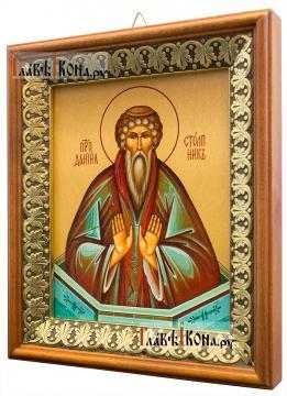 Даниил Столпник, икона на холсте в киоте-рамке - вид сбоку