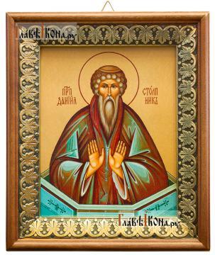 Даниил Столпник, икона на холсте в киоте-рамке