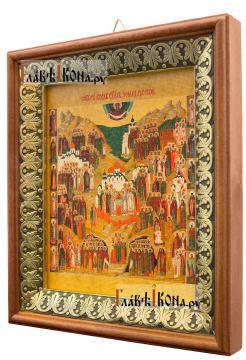 Собор всех святых земли Русской, икона на холсте в киоте-рамке - вид сбоку