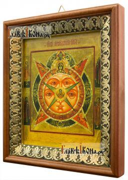 Всевидящее око Божие, икона на холсте в киоте-рамке - вид сбоку