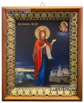 Боголюбская Божия Матерь, икона на холсте в киоте-рамке