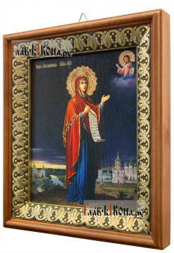 Боголюбская Божия Матерь, икона на холсте в киоте-рамке - вид сбоку