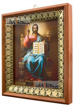 Господь на троне, икона на холсте в киоте-рамке - вид сбоку