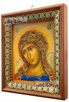 Златы власы (Архангел Гавриил), икона на холсте в киоте-рамке - вид сбоку