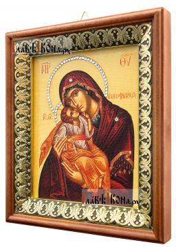 Гликофилусса Божия Матерь, икона на холсте в киоте-рамке - вид сбоку
