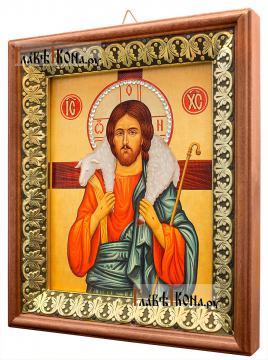Добрый Пастырь, икона на холсте в киоте-рамке - вид сбоку