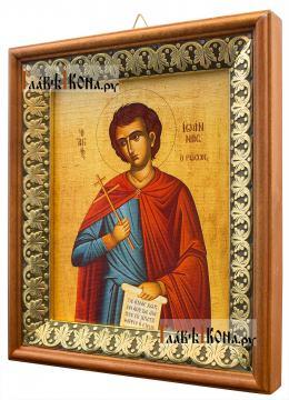 Иоанн Русский, икона на холсте в киоте-рамке - вид сбоку