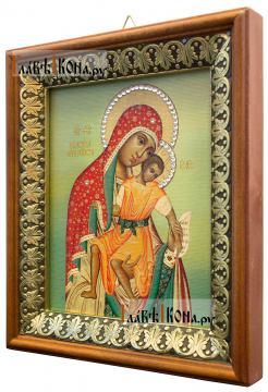 Милостивая Киккская Божия Матерь, икона на холсте в киоте-рамке - вид сбоку