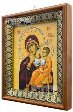 Отрада и Утешение Божия Матерь, икона на холсте в киоте-рамке - вид сбоку