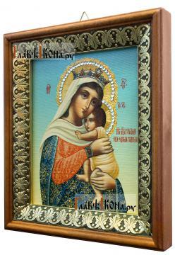 Отчаянных Единая Надежда Божия Матерь, икона на холсте в киоте-рамке - вид сбоку