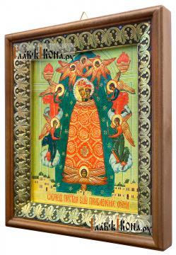 Прибавление Ума Божия Матерь, икона на холсте в киоте-рамке - вид сбоку