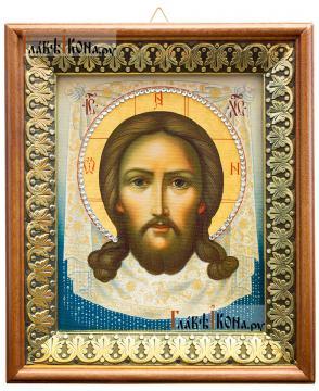 Спас Нерукотворный (живописный), икона на холсте в киоте-рамке