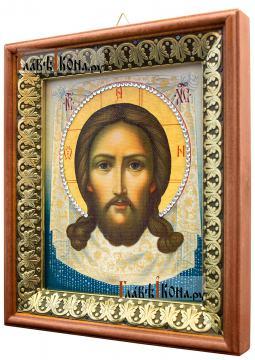 Спас Нерукотворный (живописный), икона на холсте в киоте-рамке - вид сбоку