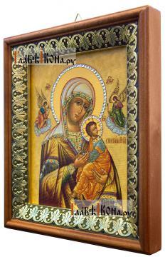Страстная Божия Матерь, икона на холсте в киоте-рамке - вид сбоку