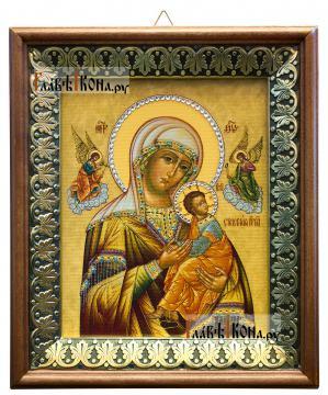 Страстная Божия Матерь, икона на холсте в киоте-рамке