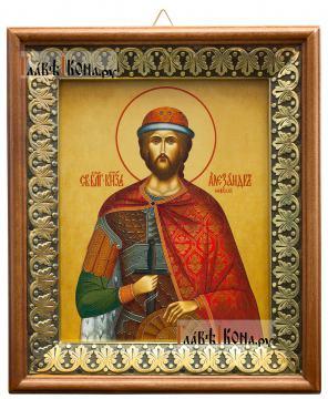 Александр Невский, икона на холсте в киоте-рамке