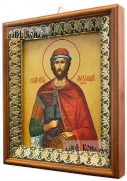 Александр Невский, икона на холсте в киоте-рамке - вид сбоку