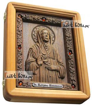 Резная икона Матроны Московской, артикул 22045 - вид сбоку