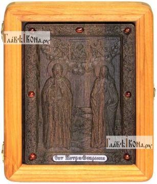 Резная икона Петра и Февронии, артикул 22048