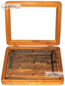 Резная икона Николая Чудотворца, артикул 22040 - вид в открытом киоте
