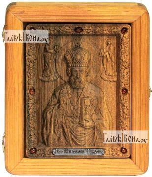Резная икона Николая Чудотворца, артикул 22040