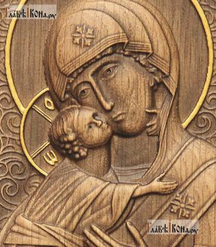Резная икона Владимирской Божией Матери, артикул 22204 - детали Образа