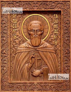 Резная икона Сергия Радонежского, артикул 22317