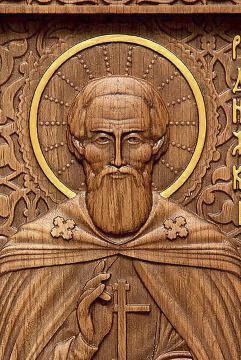 Резная икона Сергия Радонежского, артикул 22317 - детали Образа