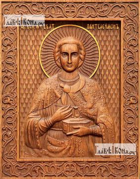 Резная икона Пантелеймона Целителя, артикул 22313