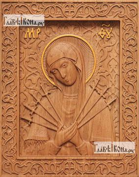 Резная икона Семистрельной Божией Матери, артикул 22209