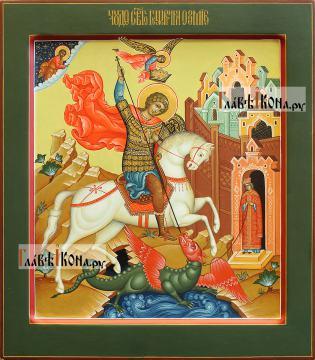 Георгий Победоносец, писаная икоан, палех, артикул 6250 - вариант 1