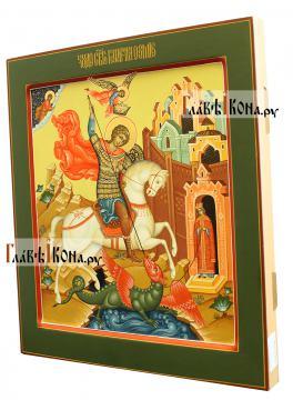 Георгий Победоносец, писаная икоан, палех, артикул 6250 - вариант 1, вид сбоку