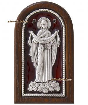 Покров Пресвятой Богродицы, икона серебряная с эмалью, артикул 13215