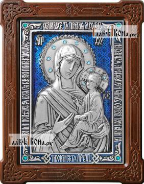Тихвинская Богородица, икона из серебра с цветной эмалью, артикул 13191
