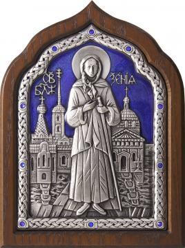 Серебряная икона Ксении Петербургской с ювелирной эмалью, артикул 13190