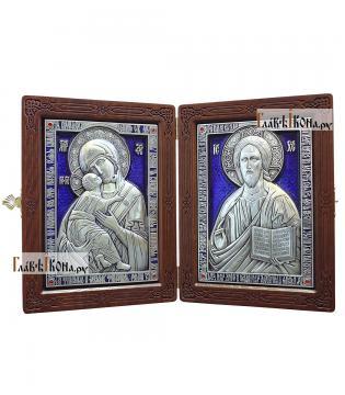 Складень с серебряными иконами со стразами и эмалью, артикул 13189