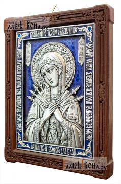 Семистрельная, серебряная икона со стразами и эмалью, артикул 13187 - вид сбоку