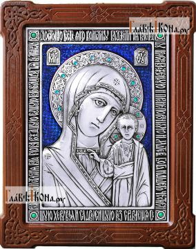 Казанская Божия Матерь, серебряная икона с ювелирной эмалью, артикул 13180