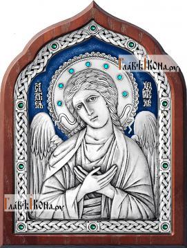 Ангел Хранитель, серебряная икона со стразами и эмадью, артикул 13182