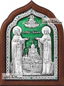 Серебряная икона Кирилла и Марии с ювелирной эмалью, артикул 13181